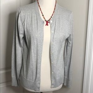 J Crew Jackie cotton cardigan in Gray